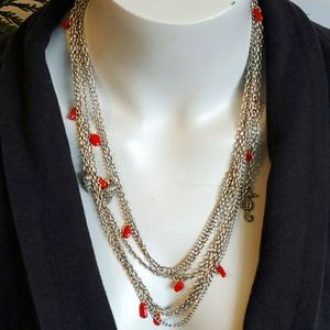 Silver chain coral, charm necklace, vtg